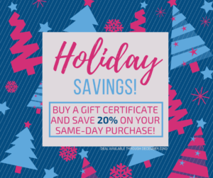 Save 20% with the purchase of a gift certificate