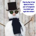 Snowman wearing RayBan sunglasses